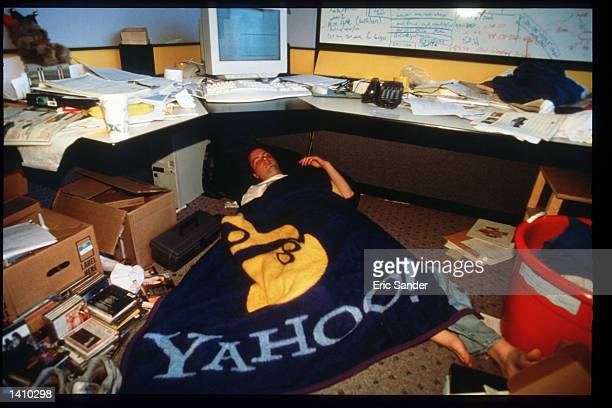 Yahoo employee sleeps in his office March 15 1997 in San Francisco CA Since the beginning of the 1990s San Francisco has become the place where...