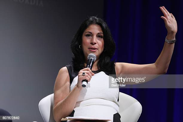 Yahoo Finance Anchor Alexis Christoforous moderates a panel at the 2016 Concordia Summit Day 1 at Grand Hyatt New York on September 19 2016 in New...