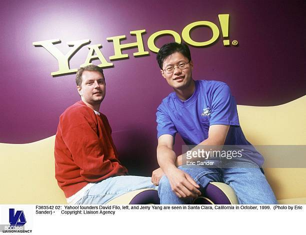 Yahoo founders David Filo left and Jerry Yang are seen in Santa Clara California in October 1999