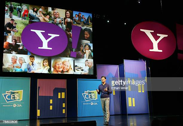 Yahoo Inc CEO Jerry Yang speaks at the 2008 International Consumer Electronics Show at the Las Vegas Hilton January 7 2008 in Las Vegas Nevada CES...