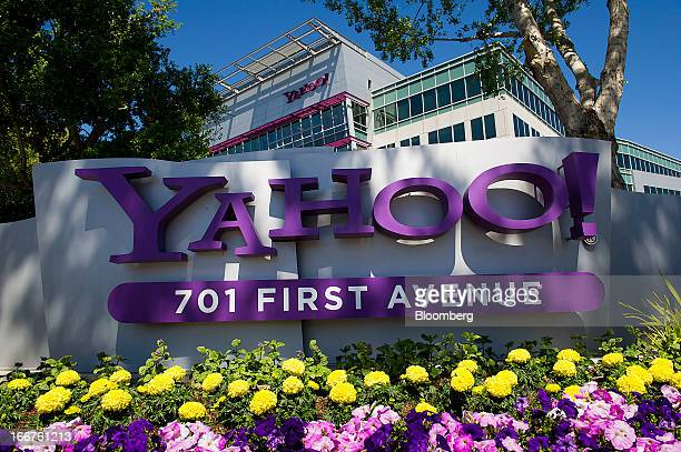Yahoo Inc signage is displayed at the company's headquarters in Sunnyvale California US on Tuesday April 16 2013 Yahoo Inc the biggest US Web portal...
