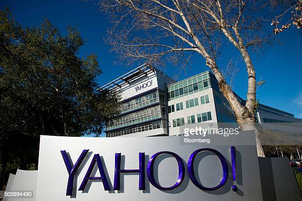 Yahoo Inc signage is displayed at the company's headquarters in Sunnyvale California US on Thursday Jan 7 2016 Yahoo Inc is planning to eliminate...