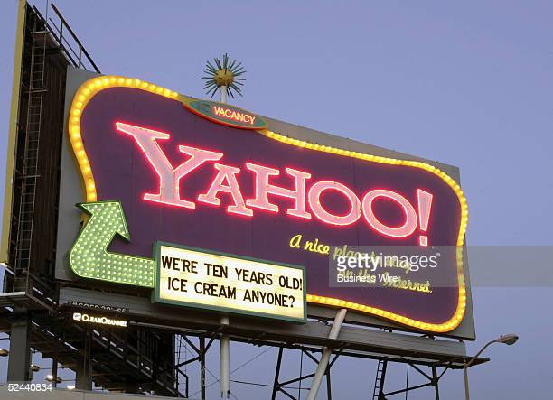 Yahoo is calling on US consumers to celebrate its tenth birthday as seen on the billboard in San Francisco on Monday February 28 2005 Yahoo is...