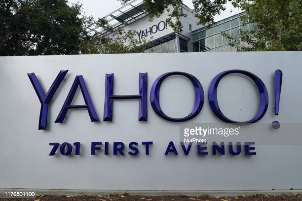 Yahoo logo is seen at its office in Sunnyvale, California on October 16, 2019. 3 billion Yahoo accounts are struck by multiple data breaches between...
