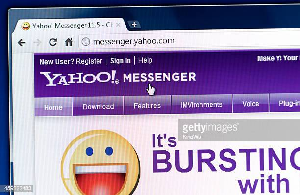 yahoo messenger on web browser - yahoo brand name stock pictures, royalty-free photos & images