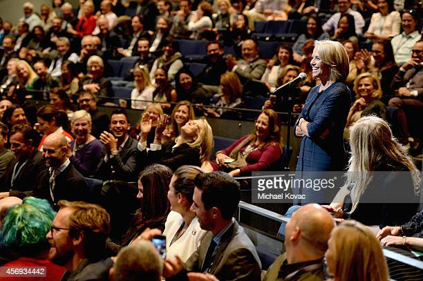 Yahoo News Global Anchor Katie Couric speaks during 'How to Earn Thousands Making Comedy' at the Vanity Fair New Establishment Summit at Yerba Buena...