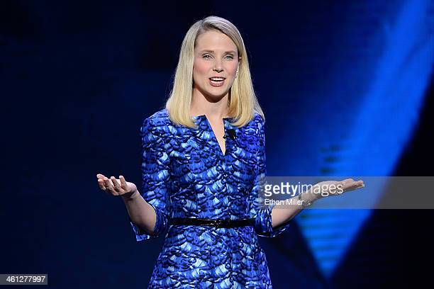 Yahoo President and CEO Marissa Mayer delivers a keynote address at the 2014 International CES at The Las Vegas Hotel Casino on January 7 2014 in Las...