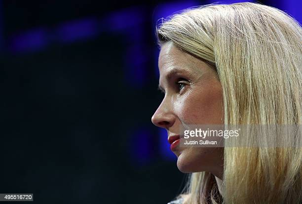 Yahoo president and CEO Marissa Mayer speaks during the Fortune Global Forum on November 3 2015 in San Francisco California Business leaders are...
