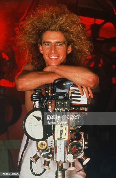 Yahoo Serious poses with his guitar for the Warner Bros movie 'Young Einstein' circa 1988