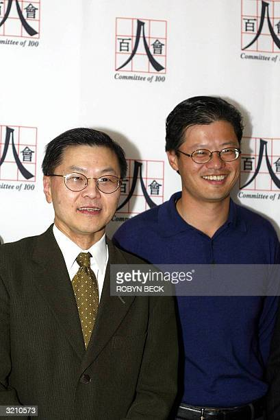 Yahoocom cofounder and Director Jerry Yang and Dr David Ho CEO of the Aaron Diamond AIDS research Center and one of the world's best known AIDS and...