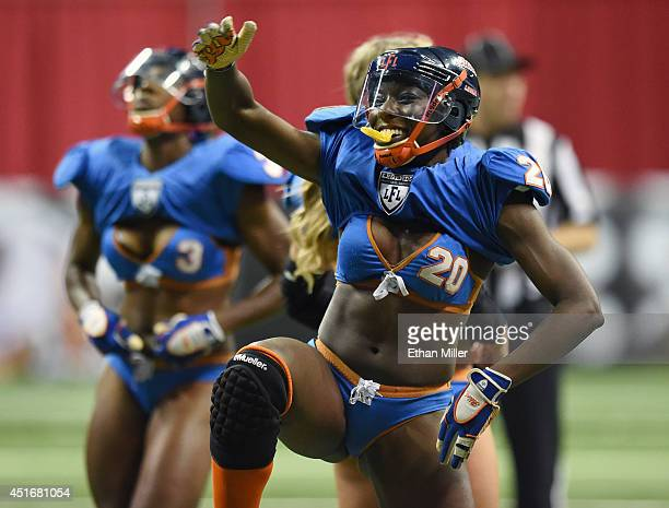 Yahshi Rice of the Chicago Bliss celebrates after defeating the Las Vegas Sin 2718 during their game at the Thomas Mack Center on July 3 2014 in Las...
