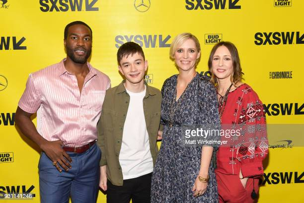 Yahya AbdulMateen II Lewis MacDougall Shana Feste and Vera Farmiga attend the 'Boundaries' Premiere 2018 SXSW Conference and Festivals at Paramount...