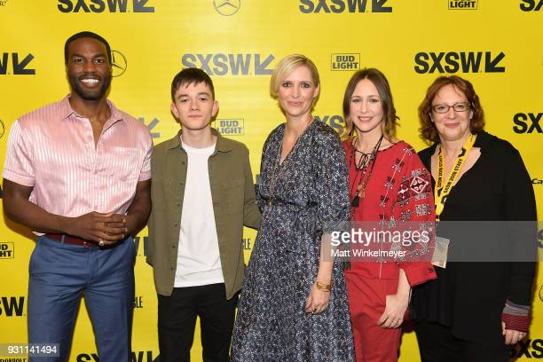 Yahya AbdulMateen II Lewis MacDougall Shana Feste Vera Farmiga and SXSW Film Festival Director Janet Pierson attend the 'Boundaries' Premiere 2018...