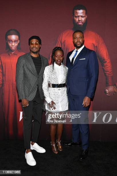 "Yahya Abdul-Mateen II, Lupita Nyong'o and Winston Duke attend the ""US"" New York Premiere at The Museum of Modern Art on March 19, 2019 in New York..."