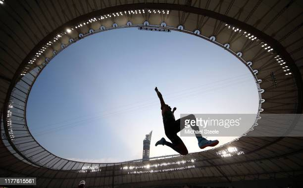 Yahya Berrabah of Morocco competes in the men's long jump qualification during day one of 17th IAAF World Athletics Championships Doha 2019 at...