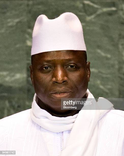 Yahyah Jammeh president of Gambia speaks at the 64th annual United Nations General Assembly in New York US on Thursday Sept 24 2009 The General...