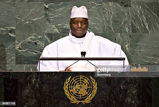 Yahyah Jammeh, president of Gambia, speaks at the 64th annual United Nations General Assembly in New York, U.S., on Thursday, Sept. 24, 2009. The...