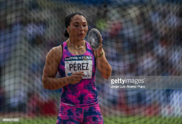 Yaimé Pérez of Cuba competes in the Discus Throw Women of the IAAF Diamond League Meeting de Paris 2018 at the Stade Charlety on June 30 2018 in...