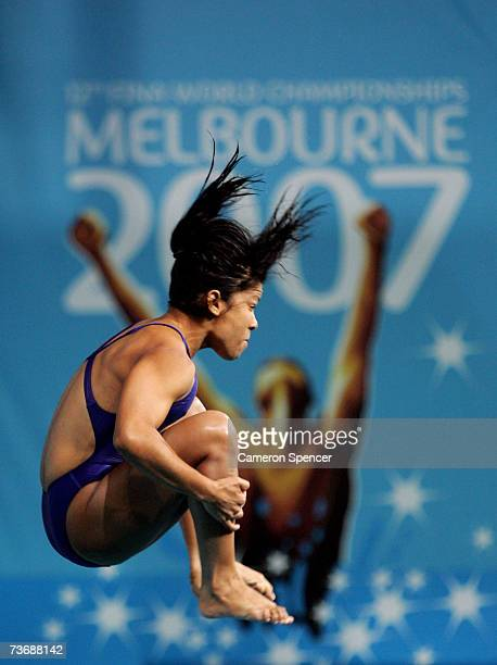 Yaima Rosario Mena Pena of Cuba competes in the Women's 3m Springboard preliminary event during the XII FINA World Championships at the Melbourne...