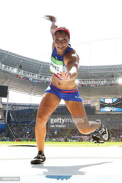 Yaime Perez of Cuba competes during the Women's Discus Throw Final on Day 11 of the Rio 2016 Olympic Games at the Olympic Stadium on August 16 2016...