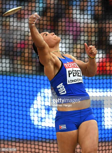 Yaime Perez of Cuba competes in the Women's Discus final during day ten of the 16th IAAF World Athletics Championships London 2017 at The London...