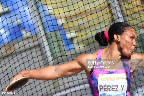 Yaime Perez of Cuba competes in the women's discus throw event at the Golden Gala the 4th stage of the 38th edition of the IAAF Diamond League 2018...