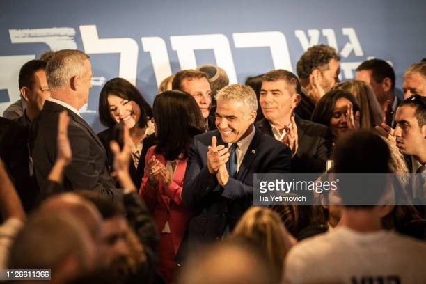 Yair Lapid seen on stage during the announcement of the new Blue and White Alliance on February 21 2019 in Tel Aviv Isreal Benny Gantz and Yair Lapid...