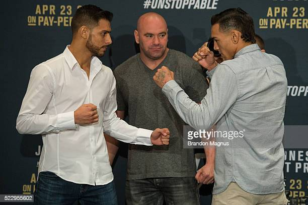 Yair Rodriguez and Andre Fili face off during the UFC 197 Ultimate Media Day at MGM Grand Hotel Casino on April 21 2016 in Las Vegas Nevada