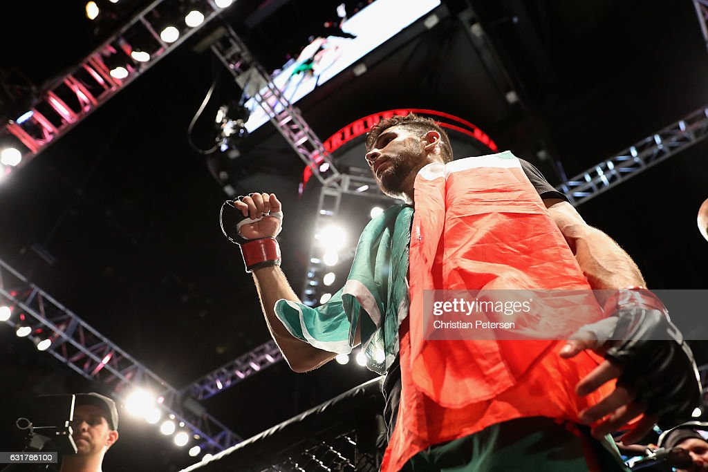 Yair Rodriguez celebrates his victory over BJ Penn (not pictured) during the UFC Fight Night event at the at Talking Stick Resort Arena on January 15, 2017 in Phoenix, Arizona.