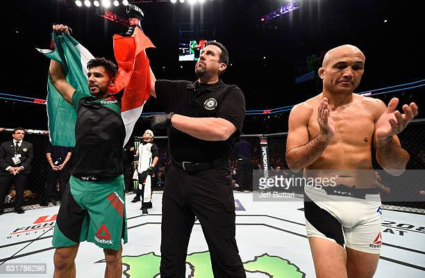 Yair Rodriguez celebrates his victory over BJ Penn in their featherweight bout during the UFC Fight Night event inside Talking Stick Resort Arena on...