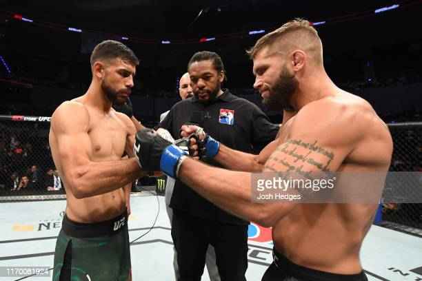 Yair Rodriguez of Mexico and Jeremy Stephens touch gloves prior to their featherweight bout during the UFC Fight Night event on September 21, 2019 in...