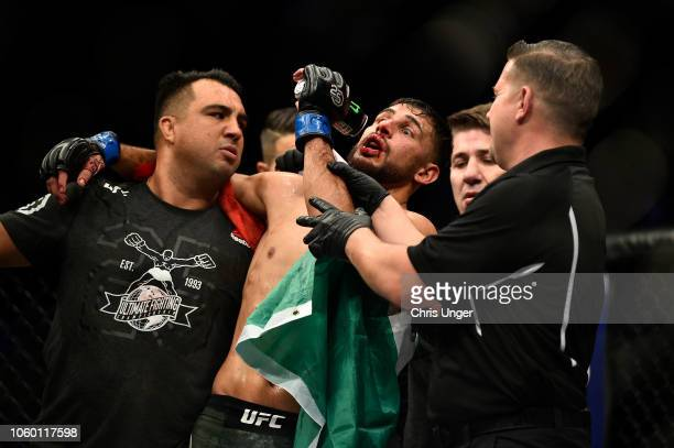 Yair Rodriguez of Mexico celebrates after defeating Chan Sung Jung of South Korea by knock out in their featherweight bout during the UFC Fight Night...