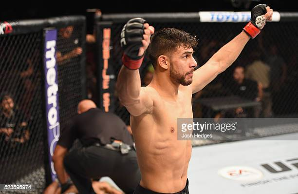 Yair Rodriguez of Mexico celebrates his knockout victory over Andre Fili in their featherweight bout during the UFC 197 event inside MGM Grand Garden...