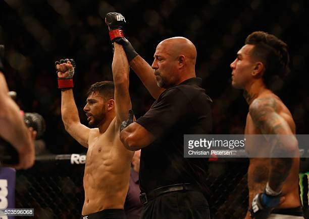 Yair Rodriguez of Mexico celebrates his knockout victory over Andre Fili after their featherweight bout during the UFC 197 event inside MGM Grand...