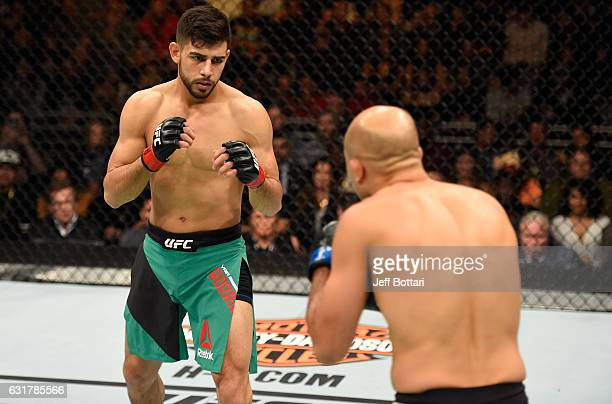 Yair Rodriguez of Mexico circles BJ Penn in their featherweight bout during the UFC Fight Night event inside Talking Stick Resort Arena on January 15...