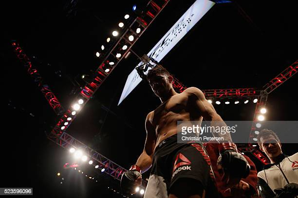 Yair Rodriguez of Mexico exits the Octagon after his knockout victory over Andre Fili in their featherweight bout during the UFC 197 event inside MGM...