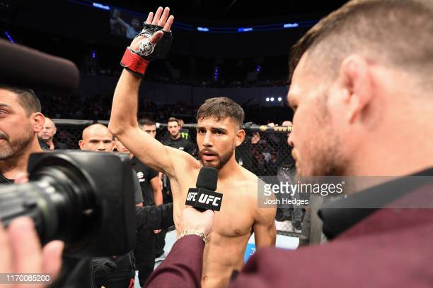 Yair Rodriguez of Mexico is interviewed after his featherweight bout against Jeremy Stephens is ruled a no contest during the UFC Fight Night event...