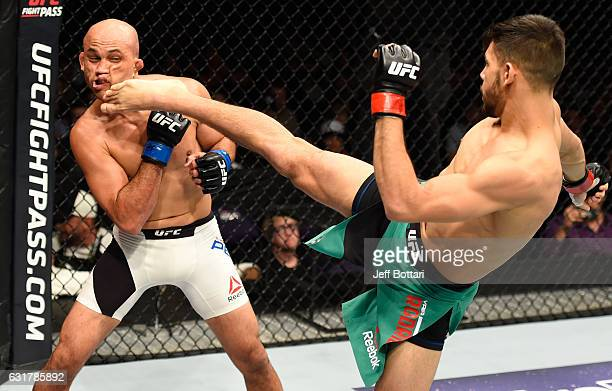 Yair Rodriguez of Mexico kicks BJ Penn in their featherweight bout during the UFC Fight Night event inside Talking Stick Resort Arena on January 15...