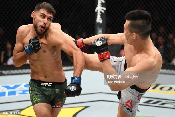 Yair Rodriguez of Mexico kicks Yair Rodriguez of Mexico in their featherweight bout during the UFC Fight Night event inside Pepsi Center on November...