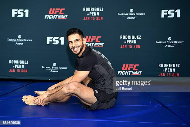 Yair Rodriguez of Mexico performs a workout session for media and fans during the UFC Fight Night open workouts at the Talking Stick Resort Arena on...