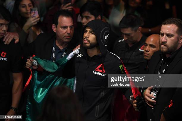 Yair Rodriguez of Mexico prepares to enter the Octagon prior to his featherweight bout during the UFC Fight Night event on September 21, 2019 in...