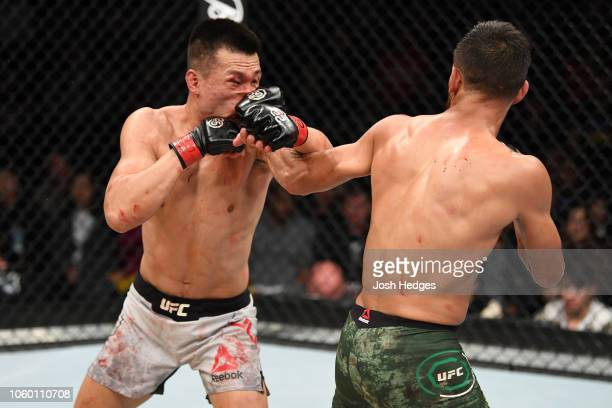 Yair Rodriguez of Mexico punches Chan Sung Jung of South Korea in their featherweight bout during the UFC Fight Night event inside Pepsi Center on...