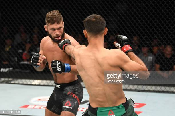 Yair Rodriguez of Mexico punches Jeremy Stephens in their featherweight bout during the UFC Fight Night event on September 21, 2019 in Mexico City,...