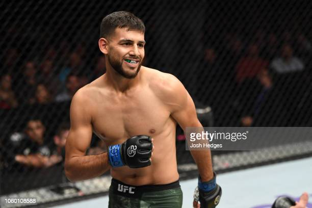 Yair Rodriguez of Mexico reacts while facing Chan Sung Jung of South Korea in their featherweight bout during the UFC Fight Night event inside Pepsi...