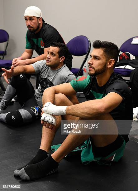Yair Rodriguez of Mexico relaxes backstage backstage during the UFC Fight Night event inside Talking Stick Resort Arena on January 15 2017 in Phoenix...