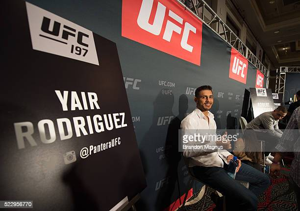 Yair Rodriguez poses for a portrait during the UFC 197 Ultimate Media Day at MGM Grand Hotel Casino on April 21 2016 in Las Vegas Nevada