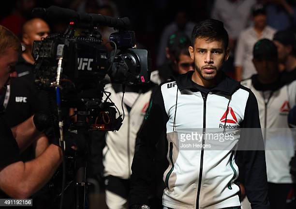 Yair Rodriguez prepares to enter the Octagon before facing Dan Hooker in their featherweight bout during the UFC 192 event at the Toyota Center on...