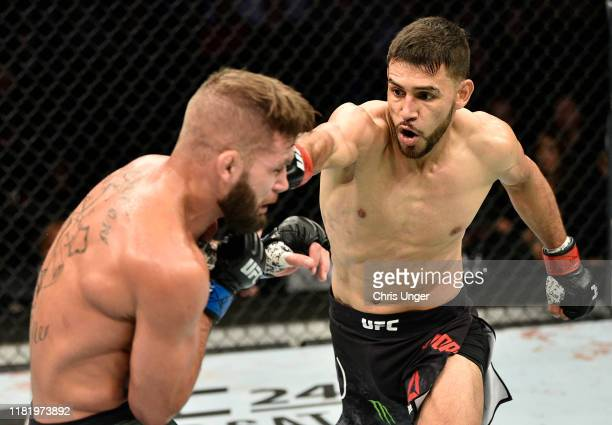 Yair Rodriguez punches Jeremy Stephens in their featherweight bout during the UFC Fight Night event at TD Garden on October 18, 2019 in Boston,...