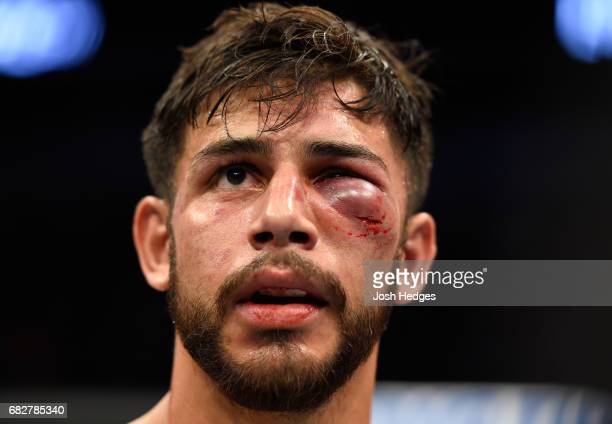 Yair Rodriguez reacts to his loss to Frankie Edgar in their featherweight fight during the UFC 211 event at the American Airlines Center on May 13...
