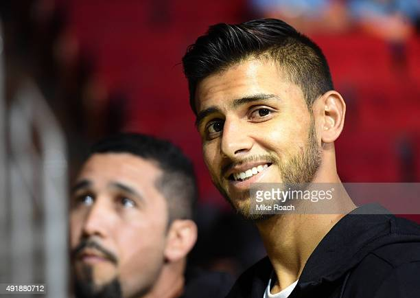 Yair Rodriguez waits backstage during the UFC 192 weighin at the Toyota Center on October 2 2015 in Houston Texas